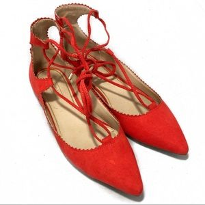 Topshop Ballet Pointed Toe Flats Red